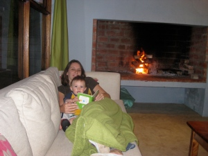 noah and i snuggled up by the fire